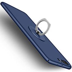 Huawei P10 Plus用ハードケース プラスチック 質感もマット アンド指輪 ファーウェイ ネイビー