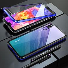 Huawei P20用ケース 高級感 手触り良い アルミメタル 製の金属製 360度 フルカバーバンパー 鏡面 カバー T02 ファーウェイ ネイビー