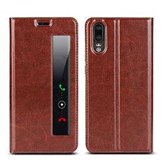 Huawei P20用手帳型 レザーケース スタンド カバー L02 ファーウェイ ブラウン