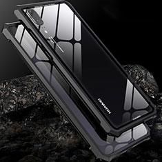 Huawei P20用ケース 高級感 手触り良い アルミメタル 製の金属製 バンパー 鏡面 カバー ファーウェイ ブラック