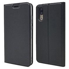 Huawei P20用手帳型 レザーケース スタンド カバー L04 ファーウェイ ブラック