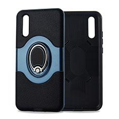 Huawei P20用極薄ソフトケース シリコンケース 耐衝撃 全面保護 アンド指輪 マグネット式 バンパー A01 ファーウェイ シアン