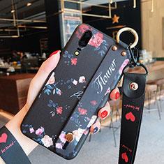 Huawei P20用シリコンケース ソフトタッチラバー 花 カバー ファーウェイ ブラック
