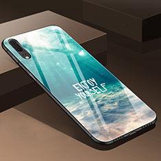 Huawei P20用ハイブリットバンパーケース プラスチック 鏡面 花 カバー P01 ファーウェイ シアン