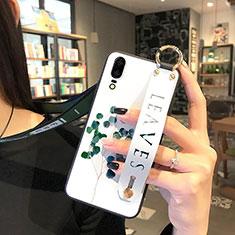 Huawei P20用シリコンケース ソフトタッチラバー 花 カバー P01 ファーウェイ グリーン