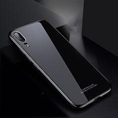 Huawei P20用ケース 高級感 手触り良い アルミメタル 製の金属製 バンパー 鏡面 カバー M02 ファーウェイ ブラック