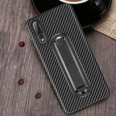 Huawei P20用極薄ソフトケース シリコンケース 耐衝撃 全面保護 アンド指輪 バンパー A01 ファーウェイ ブラック