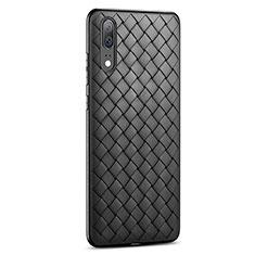 Huawei P20用シリコンケース ソフトタッチラバー レザー柄 ファーウェイ ブラック