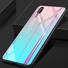 Huawei P20用ハイブリットバンパーケース プラスチック 鏡面 虹 グラデーション 勾配色 カバー ファーウェイ シアン