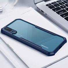 Huawei P20用ハイブリットバンパーケース クリア透明 プラスチック 鏡面 カバー M01 ファーウェイ ネイビー