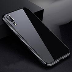 Huawei P20用ケース 高級感 手触り良い アルミメタル 製の金属製 360度 フルカバーバンパー 鏡面 カバー ファーウェイ ブラック