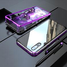 Huawei P20用ケース 高級感 手触り良い アルミメタル 製の金属製 360度 フルカバーバンパー 鏡面 カバー M01 ファーウェイ パープル