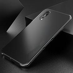 Huawei P20用ケース 高級感 手触り良い アルミメタル 製の金属製 カバー M01 ファーウェイ ブラック