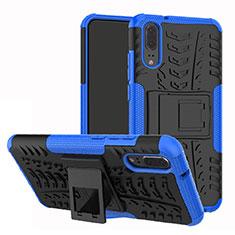 Huawei P20用ハイブリットバンパーケース スタンド プラスチック 兼シリコーン カバー A01 ファーウェイ ネイビー