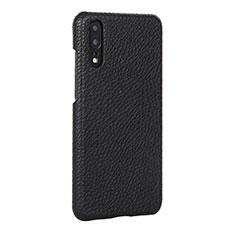 Huawei P20用ケース 高級感 手触り良いレザー柄 P01 ファーウェイ ブラック