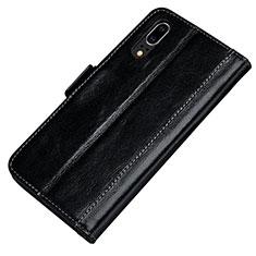 Huawei P20用手帳型 レザーケース スタンド カバー P01 ファーウェイ ブラック