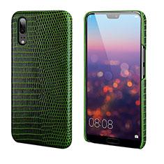 Huawei P20用ケース 高級感 手触り良いレザー柄 P03 ファーウェイ グリーン