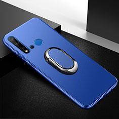 Huawei P20 Lite (2019)用極薄ソフトケース シリコンケース 耐衝撃 全面保護 アンド指輪 マグネット式 バンパー ファーウェイ ネイビー
