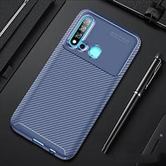 Huawei P20 Lite (2019)用シリコンケース ソフトタッチラバー ツイル カバー ファーウェイ ネイビー