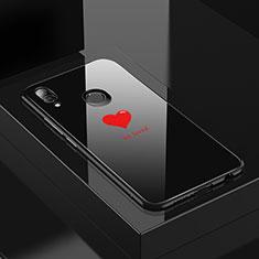 Huawei P20 Lite用ハイブリットバンパーケース プラスチック パターン 鏡面 カバー S01 ファーウェイ ブラック