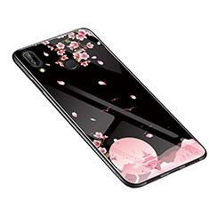 Huawei P20 Lite用ハイブリットバンパーケース プラスチック 鏡面 花 カバー S01 ファーウェイ ブラック