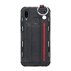 Huawei P20 Lite用手帳型 布 スタンド ファーウェイ ブラック