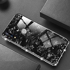 Huawei P20 Lite用ハイブリットバンパーケース プラスチック 鏡面 カバー M01 ファーウェイ ブラック