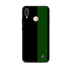 Huawei P20 Lite用シリコンケース ソフトタッチラバー バタフライ パターン カバー S01 ファーウェイ グリーン