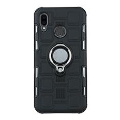 Huawei P20 Lite用ハイブリットバンパーケース プラスチック アンド指輪 兼シリコーン カバー S01 ファーウェイ ブラック