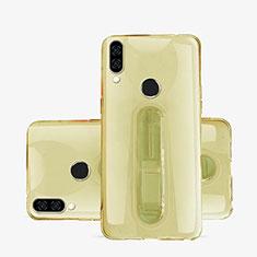Huawei P20 Lite用極薄ソフトケース シリコンケース 耐衝撃 全面保護 クリア透明 スタンド S01 ファーウェイ ゴールド