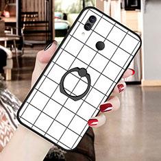 Huawei P20 Lite用シリコンケース ソフトタッチラバー バタフライ パターン カバー S02 ファーウェイ ホワイト