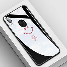 Huawei P20 Lite用ハイブリットバンパーケース プラスチック パターン 鏡面 カバー S04 ファーウェイ ブラック