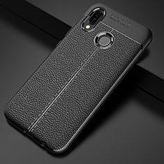 Huawei P20 Lite用シリコンケース ソフトタッチラバー レザー柄 S02 ファーウェイ ブラック