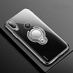 Huawei P20 Lite用極薄ソフトケース シリコンケース 耐衝撃 全面保護 クリア透明 アンド指輪 マグネット式 S01 ファーウェイ ブラック
