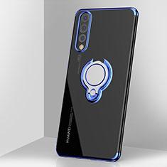 Huawei P20 Pro用極薄ソフトケース シリコンケース 耐衝撃 全面保護 クリア透明 アンド指輪 マグネット式 C03 ファーウェイ ネイビー