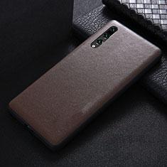 Huawei P20 Pro用ケース 高級感 手触り良いレザー柄 R03 ファーウェイ ブラウン