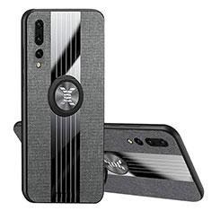 Huawei P20 Pro用極薄ソフトケース シリコンケース 耐衝撃 全面保護 アンド指輪 マグネット式 バンパー T04 ファーウェイ ブラック