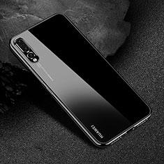 Huawei P20 Pro用極薄ソフトケース シリコンケース 耐衝撃 全面保護 クリア透明 S04 ファーウェイ ブラック