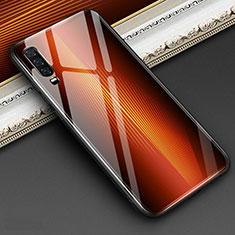 Huawei P30用ハイブリットバンパーケース プラスチック 鏡面 虹 グラデーション 勾配色 カバー ファーウェイ オレンジ