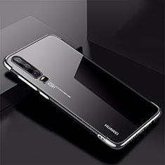 Huawei P30用極薄ソフトケース シリコンケース 耐衝撃 全面保護 クリア透明 H02 ファーウェイ シルバー