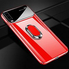 Huawei P30用ハードケース プラスチック 質感もマット アンド指輪 マグネット式 A01 ファーウェイ レッド