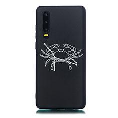 Huawei P30用シリコンケース ソフトタッチラバー 星座 カバー S12 ファーウェイ ブラック