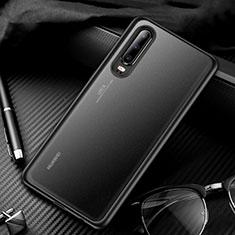 Huawei P30用ハイブリットバンパーケース クリア透明 プラスチック 鏡面 カバー T01 ファーウェイ ブラック