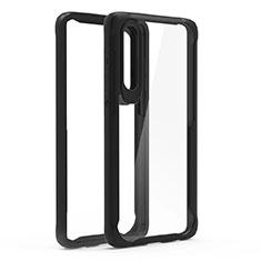 Huawei P30用ハイブリットバンパーケース クリア透明 プラスチック 鏡面 カバー T02 ファーウェイ ブラック