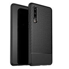 Huawei P30用シリコンケース ソフトタッチラバー ツイル カバー G02 ファーウェイ ブラック