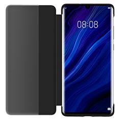 Huawei P30用手帳型 レザーケース スタンド 鏡面 カバー L05 ファーウェイ ブラック
