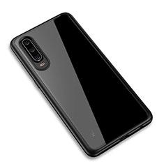 Huawei P30用ハイブリットバンパーケース クリア透明 プラスチック 鏡面 カバー T03 ファーウェイ ブラック