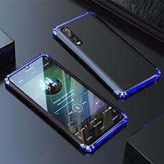 Huawei P30用ケース 高級感 手触り良い アルミメタル 製の金属製 カバー ファーウェイ ネイビー