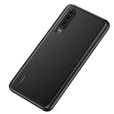 Huawei P30用ハイブリットバンパーケース クリア透明 プラスチック 鏡面 カバー T04 ファーウェイ ブラック