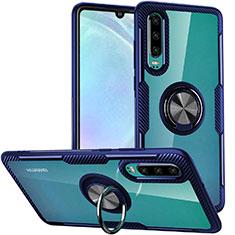 Huawei P30用360度 フルカバーハイブリットバンパーケース クリア透明 プラスチック 鏡面 アンド指輪 マグネット式 S01 ファーウェイ ネイビー
